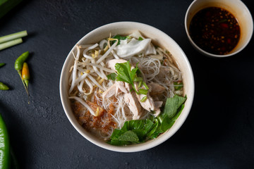 Rice noodles soup and chicken