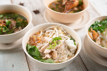 Noodles and soup.