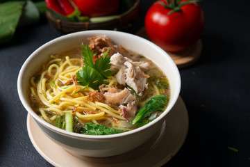 Soup noodles in bowl
