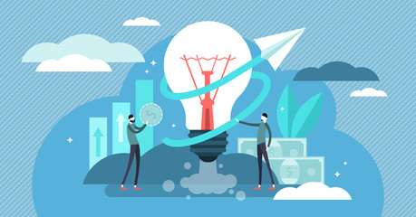 Business ideas vector illustration. Flat tiny start up work persons concept
