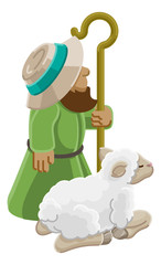 A cartoon traditional shepherd and sheep or lamb