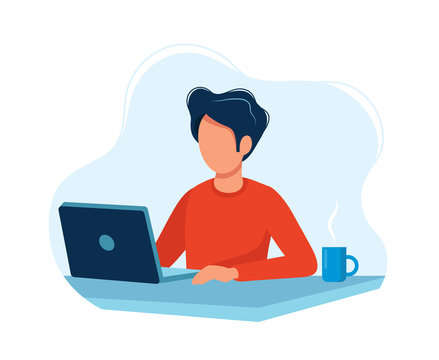 Man working with computer. Concept illustration, working process, management, freelance, office, work from home, business meeting via internet, communication. Bright colorful vector illustration.