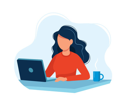 Woman working with computer. Concept illustration, working process, management, freelance, office, work from home, business meeting via internet, communication. Bright colorful vector illustration.