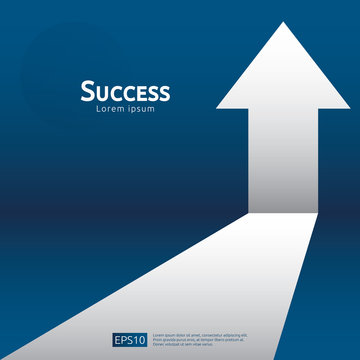 business arrow target direction concept to success. Finance growth vision stretching rising up. banner flat style vector illustration. Return on investment ROI. chart increase profit
