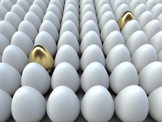 Two golden egg among white ones