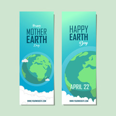 flat mother earth day banner. earth illustration. cute globe.