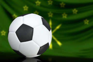Soccer black and white ball close up, in the background a blurred flag of Adygea. The image takes place for your text.