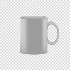 White Coffee Cup - Realistic Vector Illustration - Isolated On Transparent Background