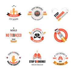 No smoking isolated icons tobacco product harm