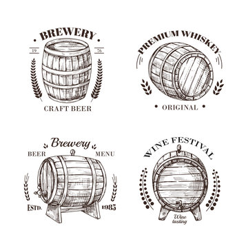 Brewery emblem. Barrel of beer and wine, whiskey and brandy sketch vector vintage labels with wooden cask and typographic design. Cask beer, wine and whiskey in keg illustration