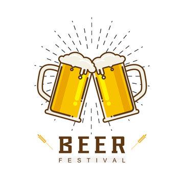 Cute cartoon of Beer Vector illustration