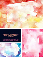 Watercolor glam background in abstract style. Natural beauty. Abstract glamour background. Abstract art pattern. Pink texture set. Watercolor effect. Ink marble texture.