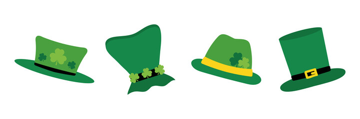 Set, collection of cute cartoon style leprechaun hats for St. Patrick's Day holiday design. Wall mural