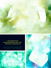 Watercolor green background. Organic watercolor background in abstract style. Natural beauty. Abstract springtime background. Green pattern set. Watercolor effect. Ink marble texture.