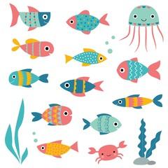 Isolated fishes, cartoon elements set