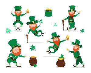 Leprechaun collection for Saint Patrick Day design. Cute Irish fairytale character set.