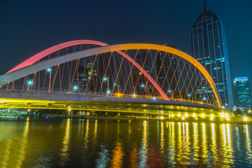 Fotomurales - Tianjin Hai river waterfront downtown skyline with illuminated Dagu bridge,China