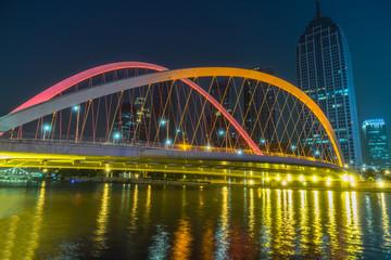 Tianjin Hai river waterfront downtown skyline with illuminated Dagu bridge,China Papier Peint