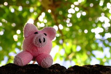 handmade pink pig stand under green tree canopy of fig trees