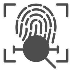 Fingerprint scan search solid icon. Finger identification vector illustration isolated on white. Lens with fingerprint glyph style design, designed for web and app. Eps 10.