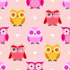 Wall Murals Owls cartoon seamless owls cartoon background pattern design - Vector