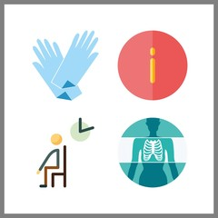 4 doctor icon. Vector illustration doctor set. medical gloves and waiting room icons for doctor works
