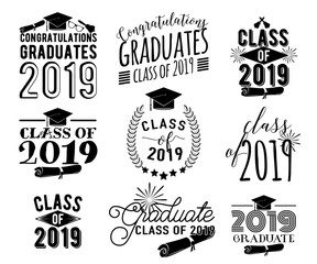 Graduation wishes monochrome overlays, lettering labels design set. Retro graduate class of 2019 badges. Hand drawn emblem with sunburst, hat, diploma, bell. Isolated. Sign or logo