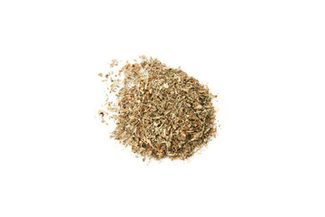 Differnt dry herbs and spice isoladet on white background close up view. Useful image for designer with copy space