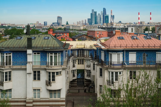 """Residential buildings on the Andreevskaya embankment, Moscow. In the distance is visible the international business center """"Moscow City"""""""
