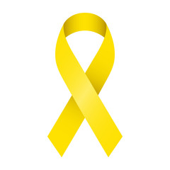 Yellow ribbon vector illustration. Symbol of suicide prevention, endometriosis and bone cancer. Isolated on white background.