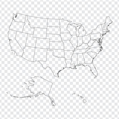 Blank map United States of America. High quality map of USA with federal states on transparent background for your web site design, logo, app, UI. Stock vector. Vector illustration EPS10.