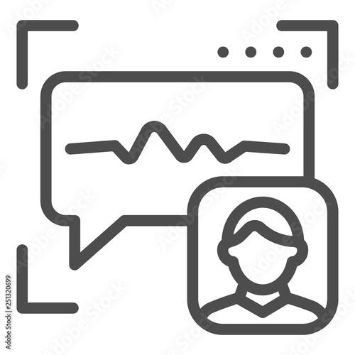 Sound recognition line icon  Voice authentication vector