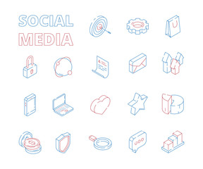 Marketing isometric icon. Web social media network symbols digital set mail graphs likes hearts news message thin line vector pictures. Illustration of social media network, isometric 3d symbol