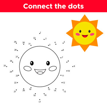 Dot to dot game, numbers game for children. Cute cartoon kawaii sun. Space theme. Vector illustration.
