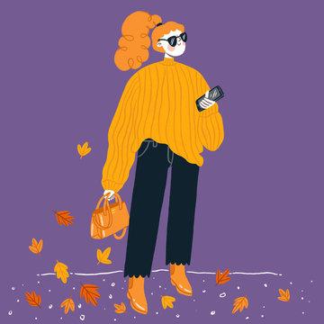 Fashion illustration, pumpkin sweater