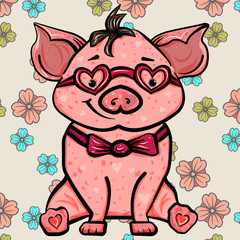 Pink pig with heart and glasses. The sweet feeling of love. Symbol of the new year 2019. Valentine's Day. Vector illustration. - Vector