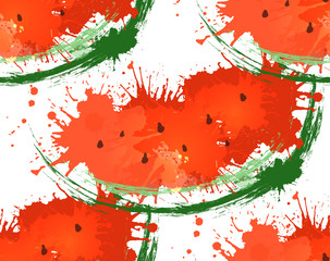 Seamless texture with watermelon slices of watercolor splashes on a white background. Grunge pattern