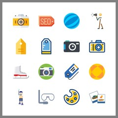 16 hobby icon. Vector illustration hobby set. ball and tags icons for hobby works