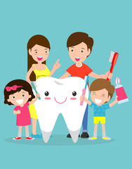 illustration of Kids with parents a Tooth,family take care of and clean a large, smiling tooth. cartoon characters - Vector