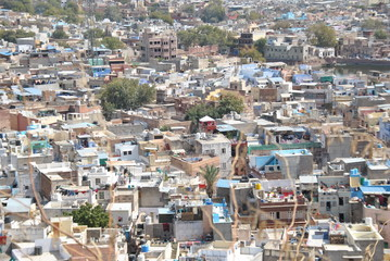 View over Jodhpur seen from Mehrangarh fort in India