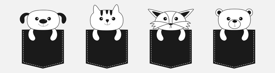 Animals in the pocket. Cute cartoon dog, bear, fox, kitten contour kitty character set line. Pet animal collection. White and black color. T-shirt design. Baby background. Isolated. Flat design