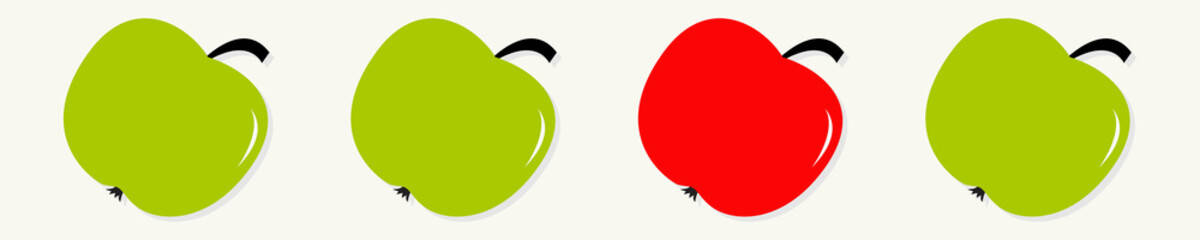 Green and red apple set line in a row. Healthy lifestyle background. Flat design. White background. Isolated.