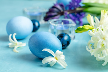 Happy Easter greening card in blue style.