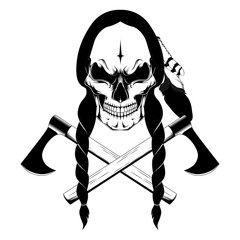 Indian skull. Black and white vector image on white background.