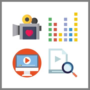 4 television icon. Vector illustration television set. sound bars and video icons for television works