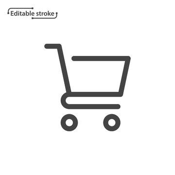 Shopping cart line icon. Editable stroke.