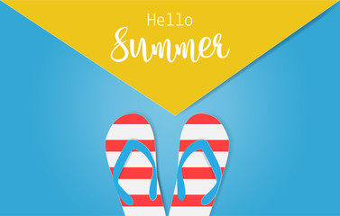 Hello Summer text with colorful sandals on blue and yellow background