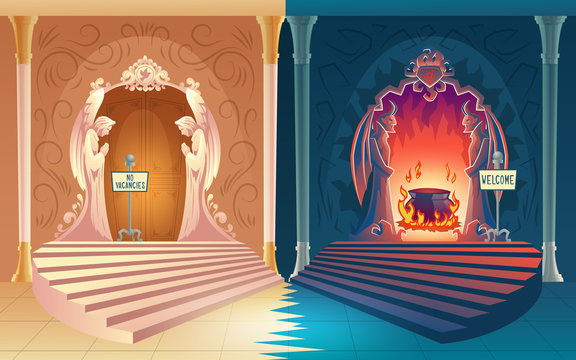 Punishment for sinful life cartoon vector concept. Closed heaven gates with no vacancies sign, welcome sign board on opened hell entrance leading to boiling pot in fire illustration. Afterlife payoff
