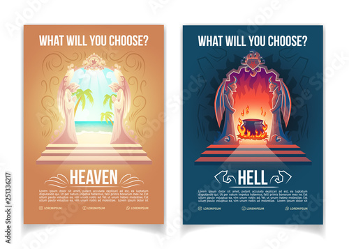 Religious Movement Ity Church Or Teaching Cartoon Vector Advertising Brochure Booklet Pages Template With Heaven And Hell Gates Figures Of