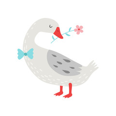 Cute White Goose Holding Flower in Its Beak Vector Illustration, Bird Cartoon Character Wearing Bow Tie Vector Illustration